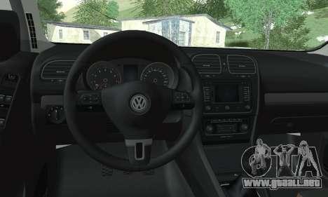 Volkswagen Golf R para GTA San Andreas vista posterior izquierda