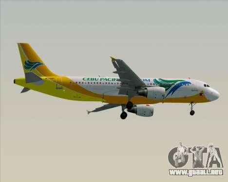 Airbus A320-200 Cebu Pacific Air para GTA San Andreas vista hacia atrás