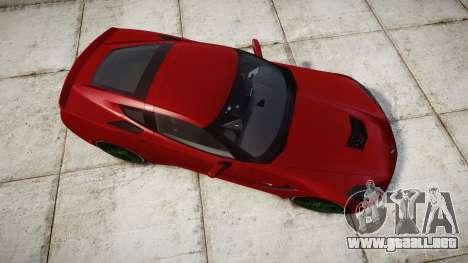 Chevrolet Corvette C7 Stingray 2014 v2.0 TireBr2 para GTA 4 visión correcta