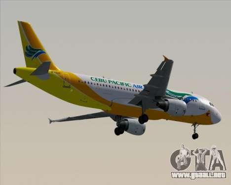Airbus A320-200 Cebu Pacific Air para vista inferior GTA San Andreas