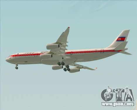 Airbus A340-300 Air Koryo para la visión correcta GTA San Andreas