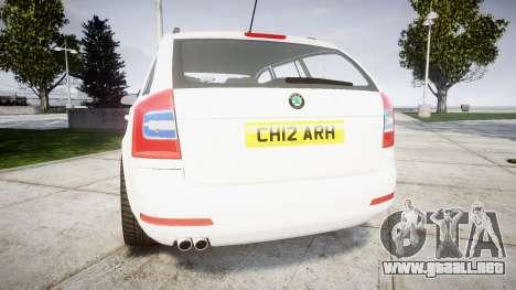 Skoda Octavia vRS Combi Unmarked Police [ELS] para GTA 4 Vista posterior izquierda