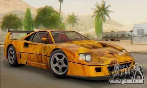 Ferrari F40 Competizione Black Revel para vista lateral GTA San Andreas