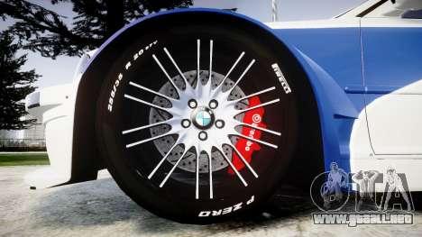 BMW M3 E46 GTR Most Wanted plate NFS Carbon para GTA 4 vista hacia atrás