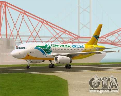 Airbus A319-100 Cebu Pacific Air para GTA San Andreas vista posterior izquierda
