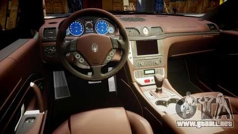 Maserati GranTurismo S 2010 PJ 4 para GTA 4 vista hacia atrás