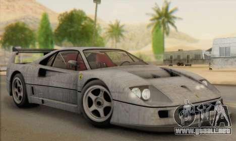 Ferrari F40 Competizione Black Revel para vista inferior GTA San Andreas