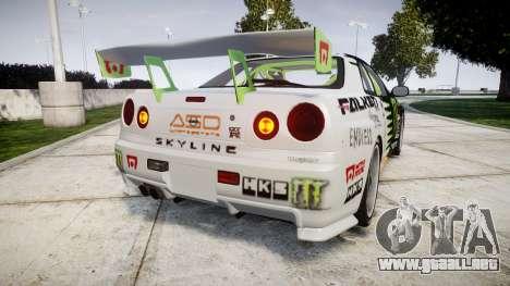 Nissan Skyline R34 GT-R V-Spec [RIV] para GTA 4 Vista posterior izquierda