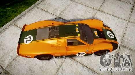 Ford GT40 Mark IV 1967 PJ Mudino 72 para GTA 4 visión correcta