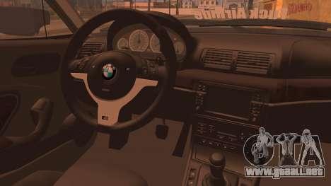 BMW M3 E46 Sedan para GTA San Andreas vista posterior izquierda