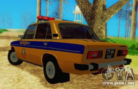 VAZ 2106 GAI para GTA San Andreas vista posterior izquierda