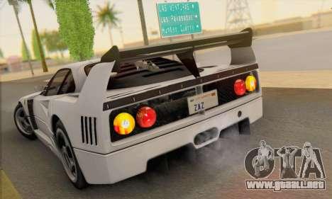 Ferrari F40 Competizione Black Revel para GTA San Andreas vista posterior izquierda