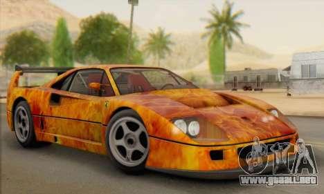 Ferrari F40 Competizione Black Revel para la vista superior GTA San Andreas
