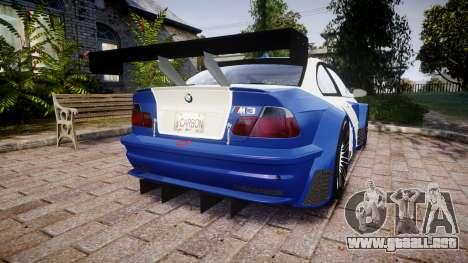 BMW M3 E46 GTR Most Wanted plate NFS Carbon para GTA 4 Vista posterior izquierda
