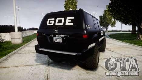 Toyota Land Cruiser 100 GOE [ELS] para GTA 4 Vista posterior izquierda