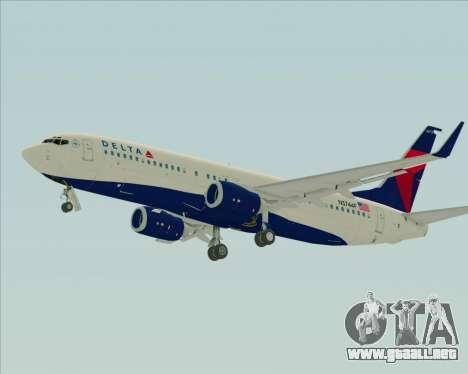 Boeing 737-800 Delta Airlines para GTA San Andreas vista posterior izquierda
