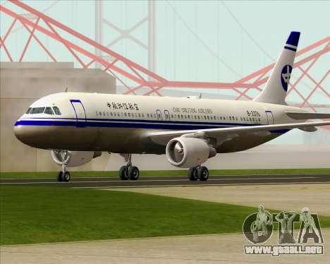 Airbus A320-200 CNAC-Zhejiang Airlines para la vista superior GTA San Andreas