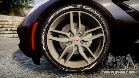 Chevrolet Corvette C7 Stingray 2014 v2.0 TireYA2 para GTA 4 vista hacia atrás