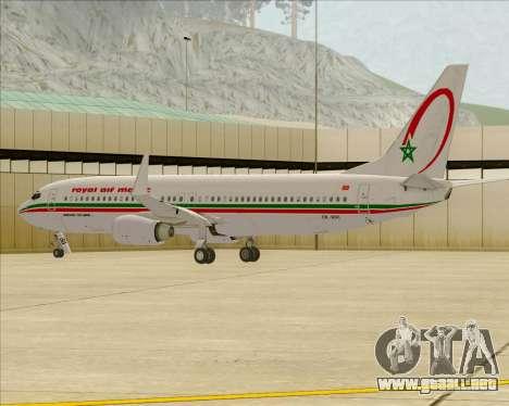 Boeing 737-8B6 Royal Air Maroc (RAM) para las ruedas de GTA San Andreas