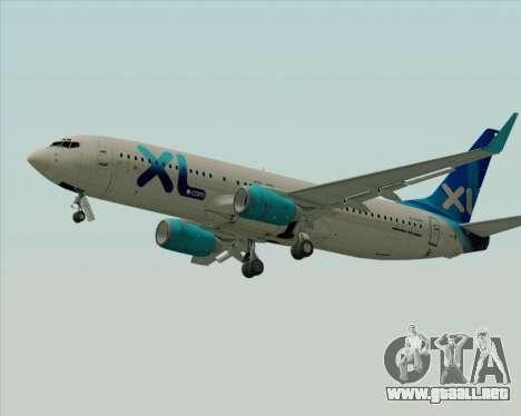 Boeing 737-800 XL Airways para GTA San Andreas vista posterior izquierda