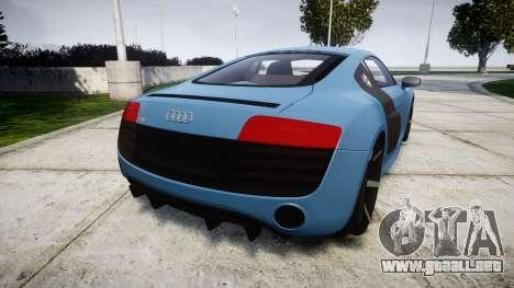 Audi R8 V10 Plus 2013 Vossen VVS CV3 para GTA 4 Vista posterior izquierda