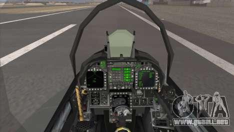FA-18 Hornet Malaysia Air Force para GTA San Andreas vista posterior izquierda