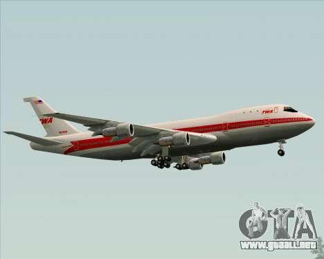 Boeing 747-100 Trans World Airlines (TWA) para la vista superior GTA San Andreas