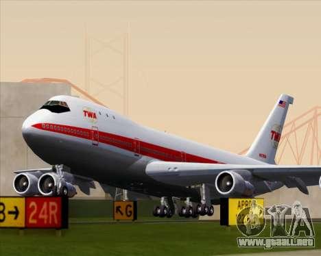 Boeing 747-100 Trans World Airlines (TWA) para la visión correcta GTA San Andreas