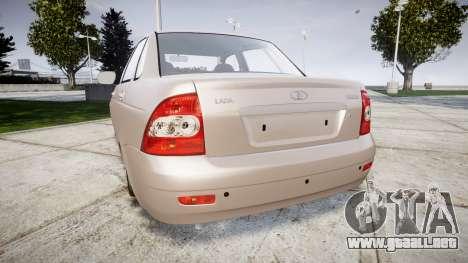 ВАЗ-2170 Instalado Antes el Acuario para GTA 4 Vista posterior izquierda