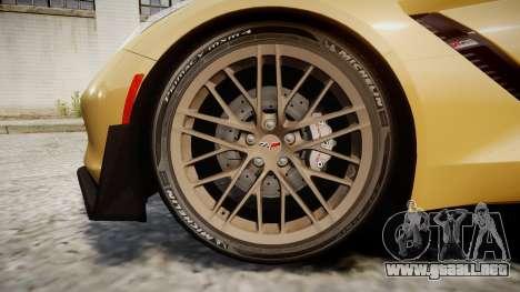 Chevrolet Corvette Z06 2015 TireMi5 para GTA 4 vista hacia atrás