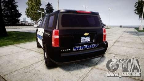 Chevrolet Tahoe 2015 Sheriff [ELS] para GTA 4 Vista posterior izquierda
