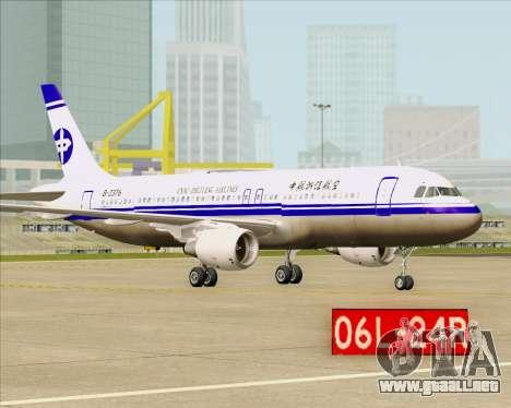Airbus A320-200 CNAC-Zhejiang Airlines para GTA San Andreas vista hacia atrás