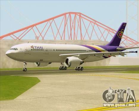 Airbus A300-600 Thai Airways International para GTA San Andreas vista posterior izquierda