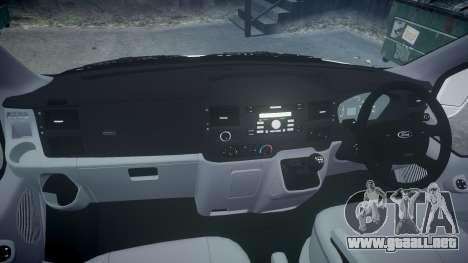 Ford Transit 2011 SuperSportVan para GTA 4 vista hacia atrás