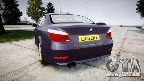 BMW 525d E60 2009 para GTA 4 Vista posterior izquierda
