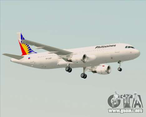 Airbus A320-200 Philippines Airlines para GTA San Andreas vista posterior izquierda