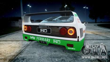 Ferrari F40 1987 [EPM] Jolly Club para GTA 4 Vista posterior izquierda
