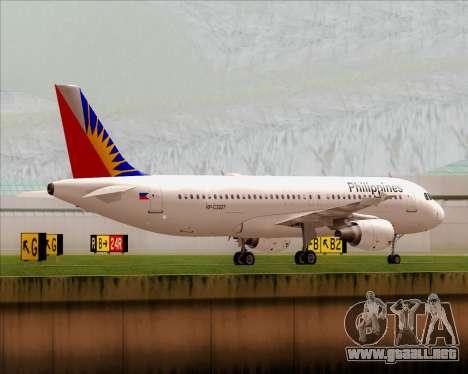 Airbus A320-200 Philippines Airlines para GTA San Andreas vista hacia atrás