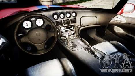 Dodge Viper RT-10 1992 para GTA 4 vista hacia atrás