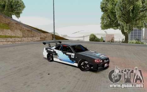 Nissan Skyline GT-R 34 Toyo Tires para la visión correcta GTA San Andreas