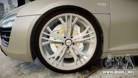 Audi R8 V10 Plus 2014 para GTA 4 vista hacia atrás