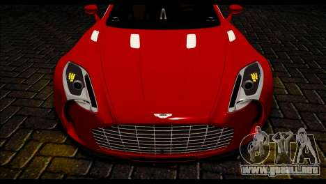 Aston Martin One-77 Black Beige para GTA San Andreas vista posterior izquierda