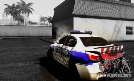 BMW M5 E60 POLICIJA para GTA San Andreas vista posterior izquierda