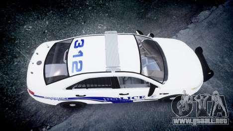 Ford Taurus 2014 Liberty City Police [ELS] para GTA 4 visión correcta