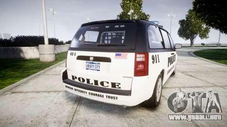 Dodge Grand Caravan LCPD [ELS] para GTA 4 Vista posterior izquierda