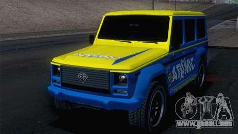 GTA 5 Benefactor Dubsta IVF para GTA San Andreas vista hacia atrás