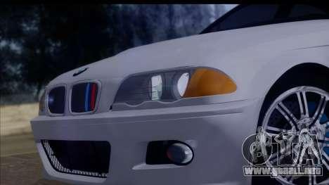 BMW M3 E46 Sedan para GTA San Andreas vista hacia atrás