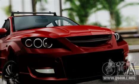 Mazda 3 MPS para GTA San Andreas vista posterior izquierda