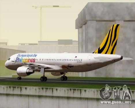 Airbus A320-200 Tigerair Philippines para vista lateral GTA San Andreas