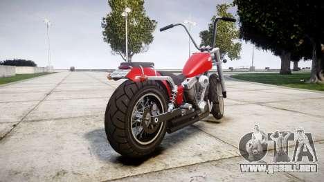 Western Motorcycle Company Daemon para GTA 4 Vista posterior izquierda